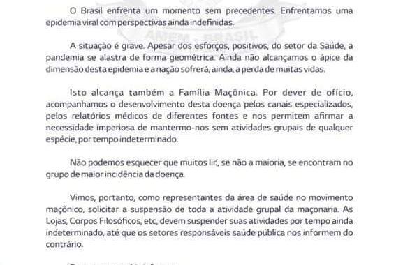 Manifesto da AMEM/Brasil Associação de Médicos Maçons